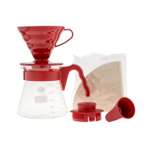 Hario zestaw V60 Pour Over Kit Red - drip Ceramiczny + serwer + filtry